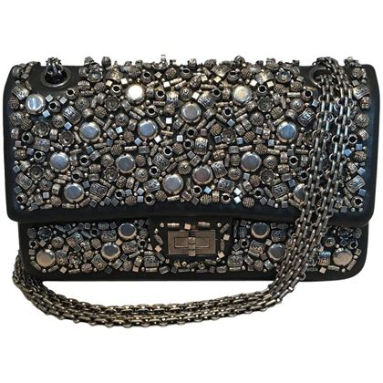 chanel-black-leather-studded-classic-flap-255-shoulder-bag