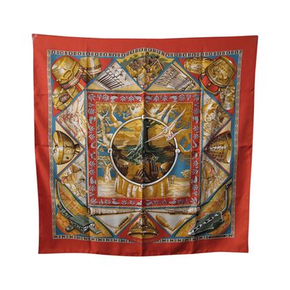 authentic-hermes-au-son-du-tam-tam-silk-scarf-c1993-2