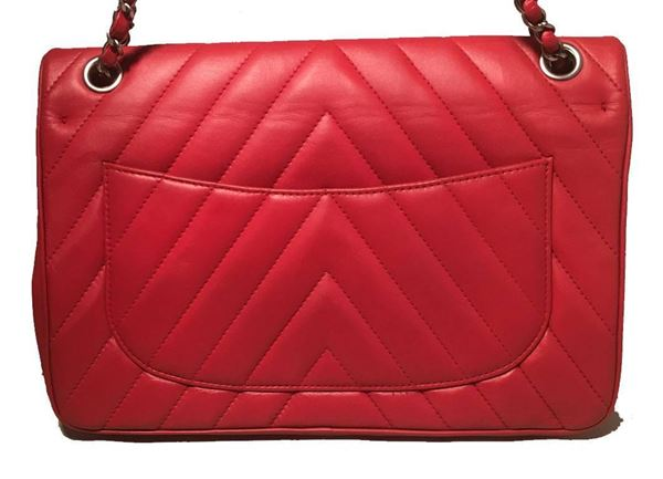 chanel-red-chevron-quilted-lions-head-classic-flap-shoulder-bag-2