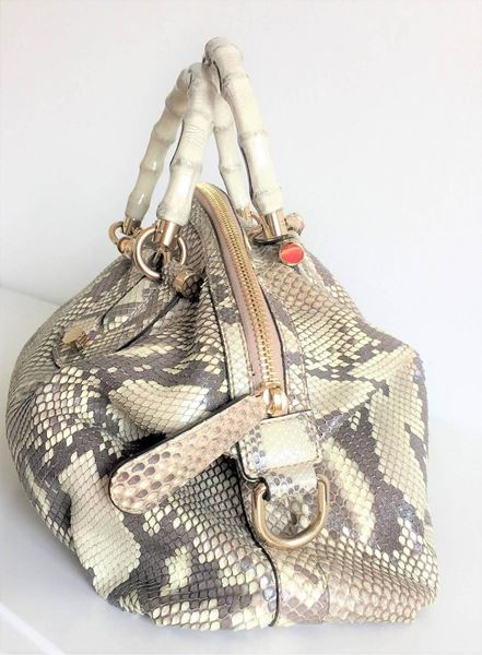 9c8d9e107e02 Gucci Bamboo Python Hand Bag / Crossbody Bag