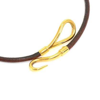hermes-brown-leather-x-gold-tone-jumbo-hook-bracelet