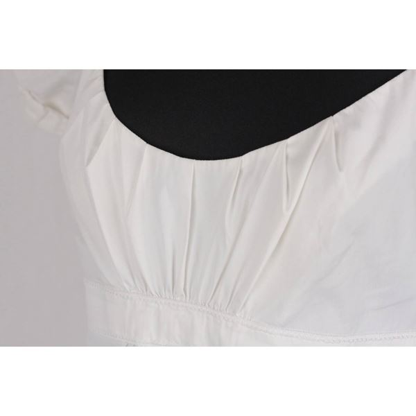 prada-white-cotton-blend-dress-balloon-sleeves-size-44