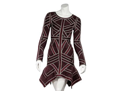 red-herve-leger-long-sleeve-carlotta-dress-xs-red