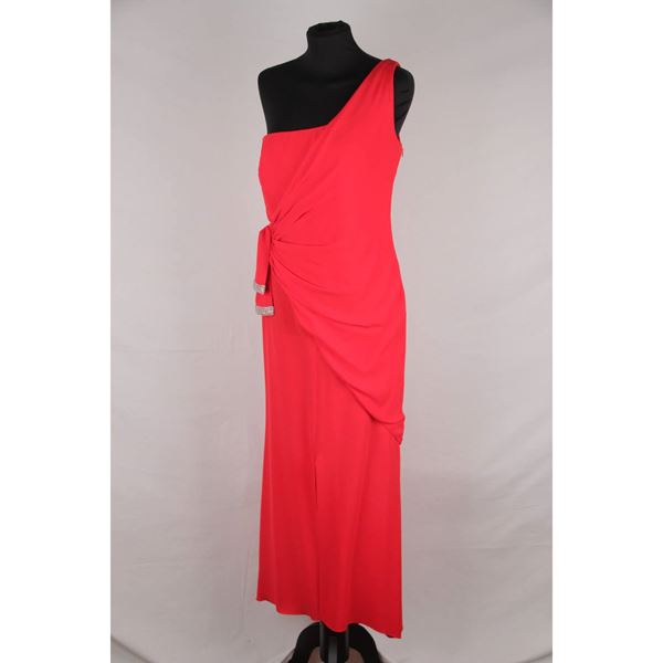 Valentino Red Chiffon One Shoulder Evening Gown Dress Gown