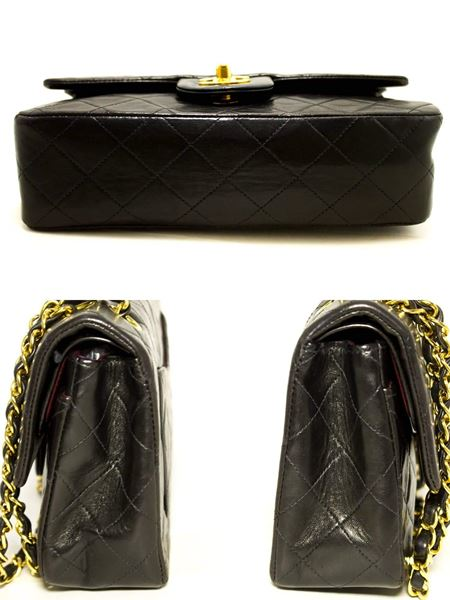 chanel-255-double-flap-9-chain-shoulder-bag-black-quilted-lamb-8