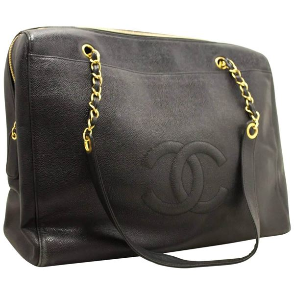 chanel-jumbo-large-chain-shoulder-bag-black-zip-leather-cc