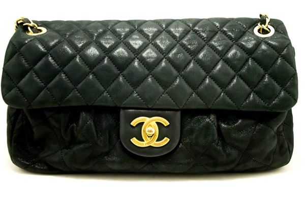 chanel-11-flap-chain-shoulder-bag-black-quilted-glitter-coated