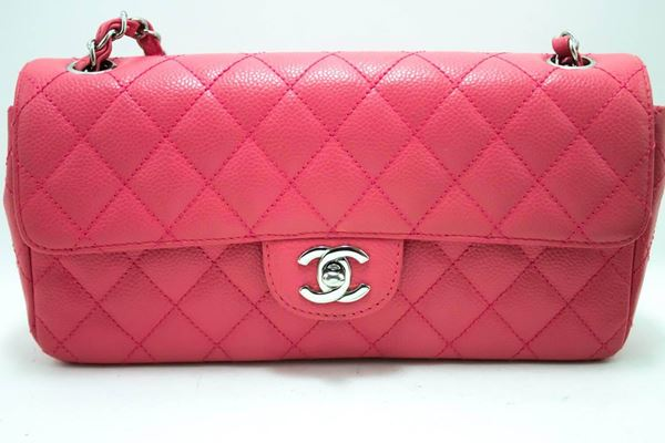 chanel-caviar-chain-shoulder-bag-pink-quilted-flap-leather-silver