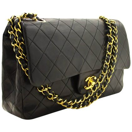 chanel-255-double-flap-10-chain-shoulder-bag-lambskin-black