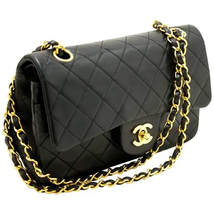 chanel-255-double-flap-9-chain-shoulder-bag-black-lambskin-8