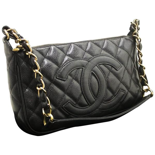 chanel-caviar-mini-small-chain-one-shoulder-bag-black-quilted-zip-2