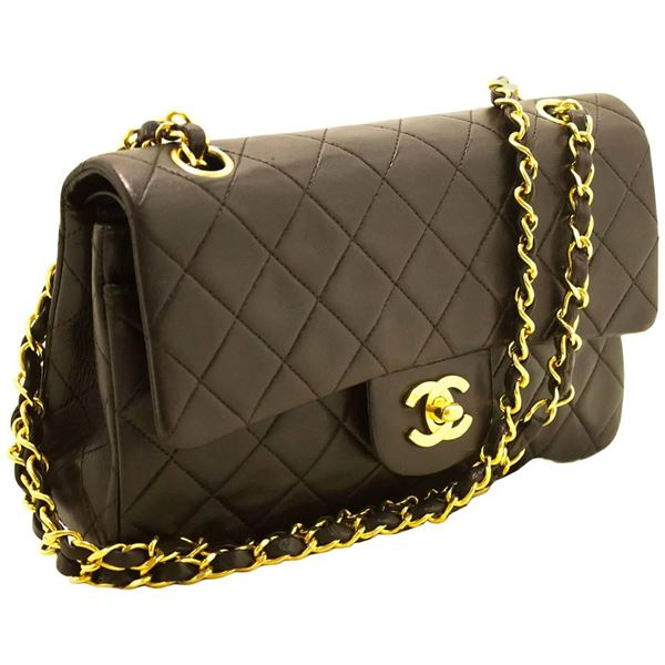 chanel-brown-255-double-flap-9-chain-shoulder-bag-quilted-lamb