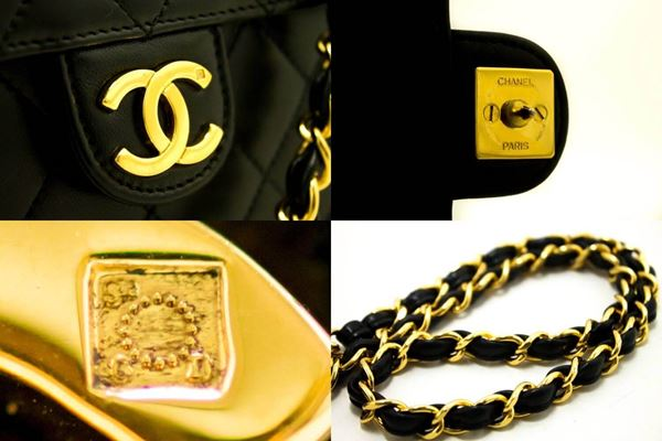 chanel-small-chain-shoulder-bag-clutch-black-quilted-flap-lambskin-2