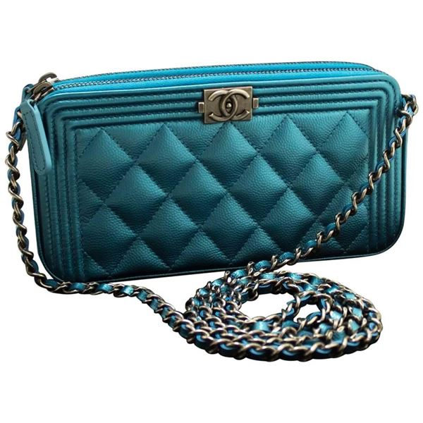 033aea2bc0e2 Chanel Boy Metallic Blue Caviar Wallet On Chain WOC Clutch Bag