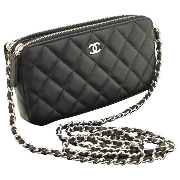 chanel-lambskin-wallet-on-chain-woc-double-zip-chain-shoulder-bag