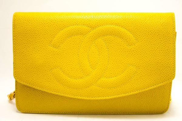 chanel-caviar-wallet-on-chain-woc-yellow-shoulder-bag-crossbody