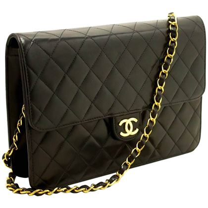 chanel-chain-shoulder-bag-clutch-black-quilted-flap-lambskin-3