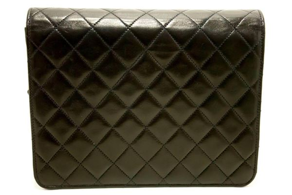chanel-small-chain-shoulder-bag-clutch-black-quilted-flap-lambskin-3