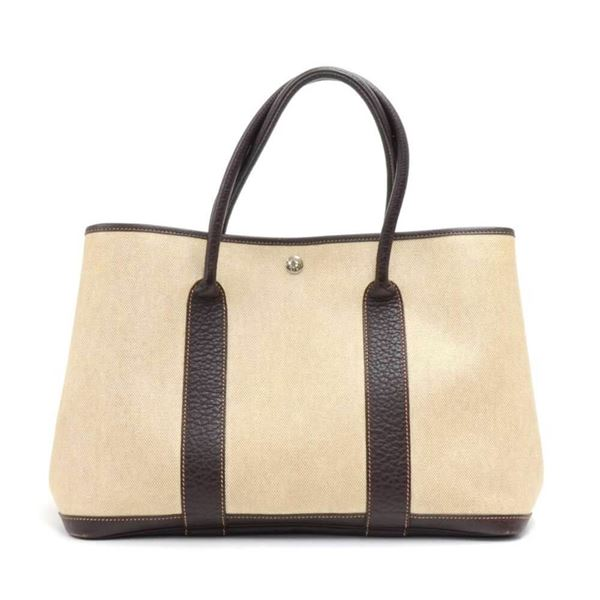 hermes-garden-party-pm-chocolate-brown-leather-beige-canvas-hand-bag-7