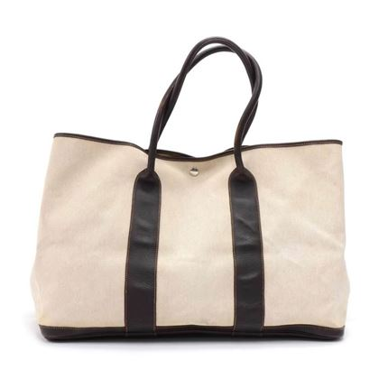 hermes-garden-party-gm-chocolate-brown-leather-beige-canvas-hand-bag
