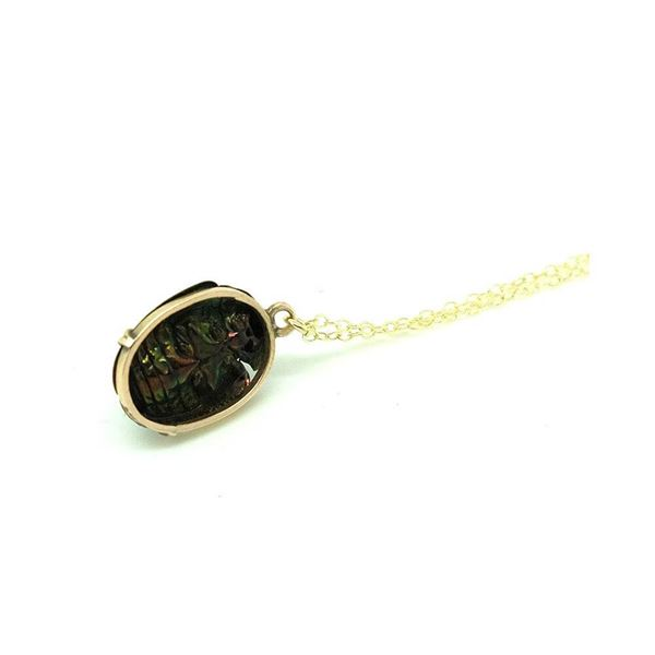 antique-victorian-9ct-gold-scarab-beetle-charm-necklace