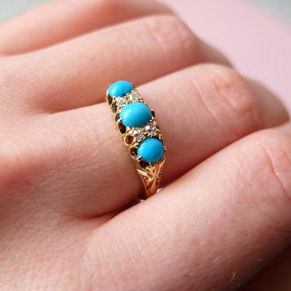 antique-victorian-1856-turquoise-diamond-18ct-yellow-gold-ring