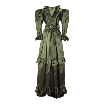 Picture of YSL Yves Saint Laurent 1978 silk taffeta olive green vintage two-piece dress