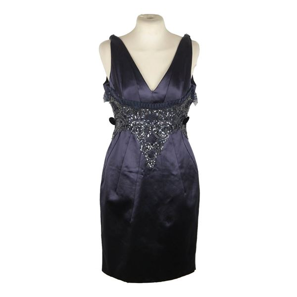 versace-blue-cotton-silk-v-neck-sheath-dress-with-sequins-size-42