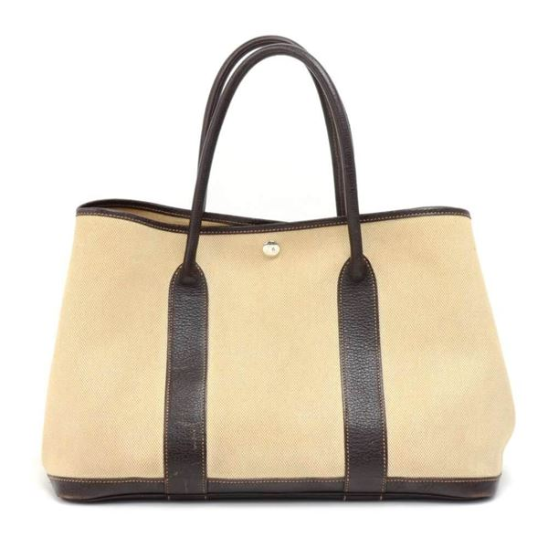 hermes-garden-party-pm-brown-leather-beige-canvas-hand-bag