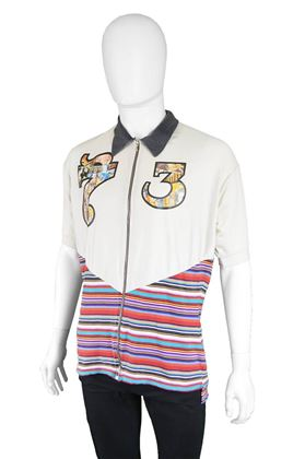 John Richmond Destroy 1990s Striped Cotton Polo Shirt