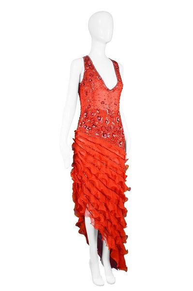 Renato Balestra 1997 Red Beaded Haute Couture Dress