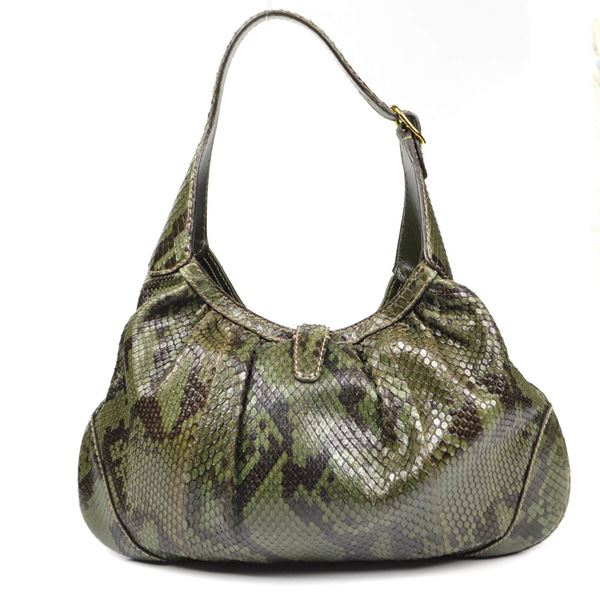 d256e9875cd Gucci Shoulder Bag Python Jackie O Green Pre-Owned Used