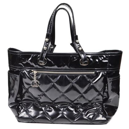 Chanel Tote Large Shopper Black Patent Leather  Pre-Owned Used