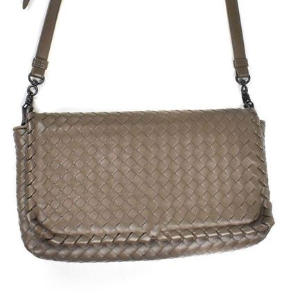 Bottega Veneta Crossbody Shoulder Flap Bag Large Gray Leather Olimpia Woven