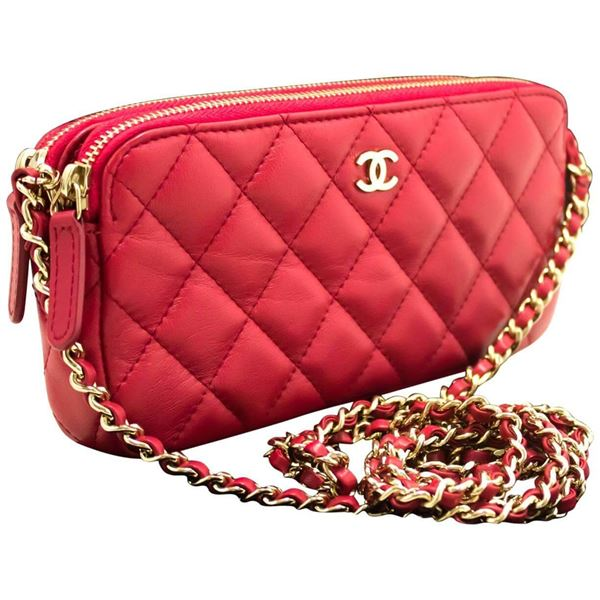 6ccf3206854fb6 Chanel Red Wallet On Chain WOC Double Zip Chain Shoulder Bag