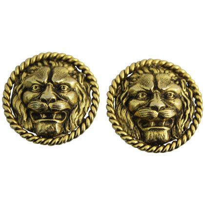 chanel-vintage-gold-plated-lion-earrings