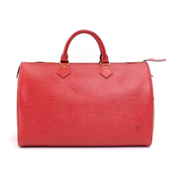 Vintage Louis Vuitton Speedy 35 Red Epi Leather City Hand Bag 7ace138977