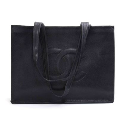 Vintage Chanel Jumbo XLarge Black Caviar Leather Tote Shoulder Bag