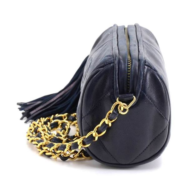 Vintage Chanel Navy Quilted Leather Barrel Shoulder Bag + Tassel