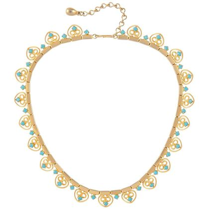 1970s Vintage Faux Turquoise Filigree Collar Necklace