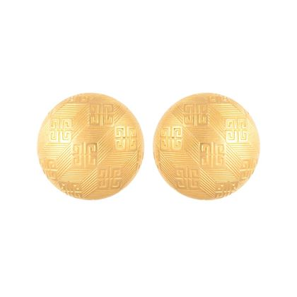 1980s-vintage-givenchy-embossed-logo-round-earrings-2