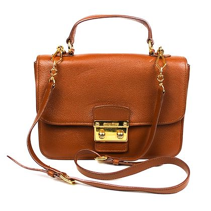 Miu Miu Brown Flap Shoulder Crossbody Bag Brown Cognac Leather  Pre-Owned Used