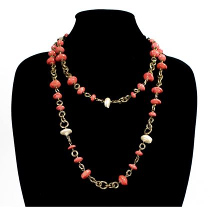 chanel-pearl-coral-necklace-vintage-pink-red-beaded-gold-1984-chain-charm-cc-3