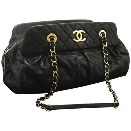 chanel-2012-glitter-coated-leather-hobo-chain-shoulder-bag-black-2