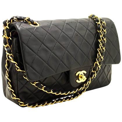 chanel-255-double-flap-10-chain-black-lambskin-shoulder-bag