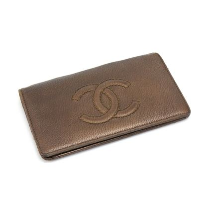chanel-crinkled-bronze-leather-bifold-chain-wallet-2