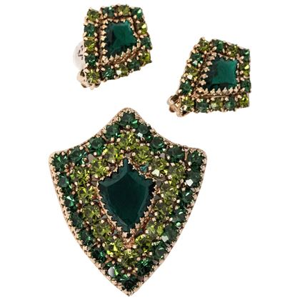 60s-weiss-green-rhinestone-brooch-earring-shield-set-2