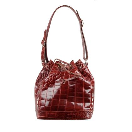 donna-elissa-vintage-brown-crocodile-leather-bucket-shoulder-bag-drawstring-2