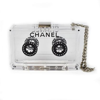 Chanel Clutch Cassette Chain Wristlet Clear Black Silver Resin } Pre-Owned Used