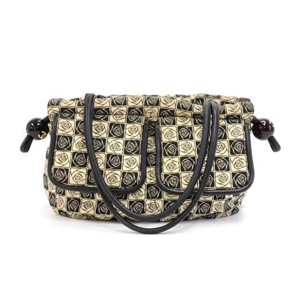 chanel-beige-black-canvas-camellia-check-pattern-shoulder-bag